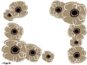 フリー素材:フレーム;ガーリーな北欧風の花(ベージュのアネモネ);640×480pix