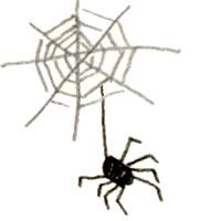フリー素材:ハロウィンのアイコン(twitter,mixi);モノクロのガーリーなクモと蜘蛛の巣のイラスト;200×2000pix