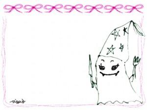 フリー素材:ハロウィンのフレーム;モノクロのガーリーなおばけとピンクのリボンとラインの飾り枠;640×480pix