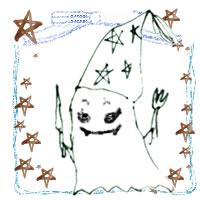 フリー素材:ハロウィンのアイコン(twitter,mixi);モノクロのガーリーなおばけとブルーのりぼんと星;200×200pix