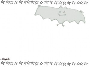 フリー素材:ハロウィンのフレーム;モノクロのガーリーなコウモリと星いっぱいの飾り枠;640×480pix