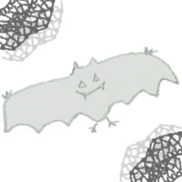 フリー素材:ハロウィンのアイコン(twitter,mixi);モノクロのガーリーなコウモリとレース;200×200pix