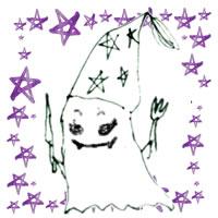 フリー素材:ハロウィンのアイコン(twitter,mixi);モノクロのガーリーなおばけと紫の水彩の星;200×200pix