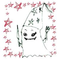 フリー素材:ハロウィンのアイコン(twitter,mixi);モノクロのガーリーなおばけと水彩のピンクの星の囲み枠;200×200pix