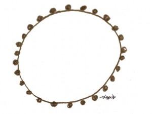 フリー素材:北欧風のシンプルなブラウンブラックの鉛筆描きのポンポン付きレースの円の飾り枠;640×480pix