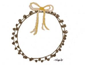 フリー素材:フレーム;北欧風のシンプルな芥子色のりぼんとブラウンブラックのポンポン付きレースの飾り枠;640×480pix