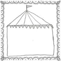 フリー素材:アイコン(twitter,mixi,ブログ);モノトーンのレースの縁飾りがガーリーなサーカスのテントの飾り枠;200×200pix