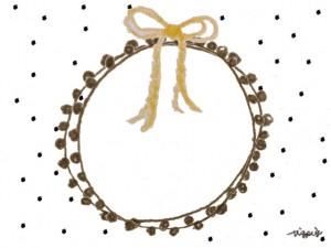 フリー素材:フレーム;モノクロの水玉の背景と芥子色のリボンと茶色のレースの飾り枠;640×480pix