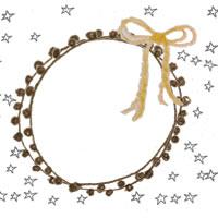 フリー素材:アイコン(twitter,mixi,ブログ);モノトーンの手描きの星と茶色のレースの飾り枠と芥子色のリボン;200×200pix