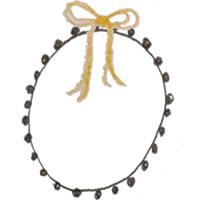 フリー素材:アイコン(twitter,mixi,ブログ);ガーリーな茶色のポンポン付きレースの楕円の飾り枠と芥子色のリボン;200×200pix