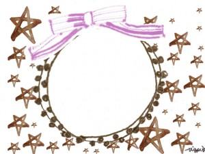 フリー素材:フレーム;ガーリーな茶色の水彩の星とピンクのリボンとレースの飾り枠;640×480pix