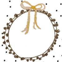 フリー素材:アイコン(twitter,mixi,ブログ);黒の水玉とレースの飾り枠と芥子色のリボン;200×200pix
