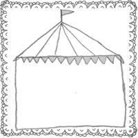 フリー素材:アイコン(twitter,mixi,ブログ);北欧風のシンプルなレースとサーカスのテントの飾り枠;200×200pix
