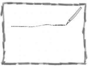 フリー素材:フレーム;モノトーンの鉛筆とラフなラインの飾り枠;640×480pix