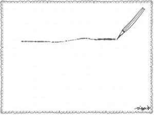 フリー素材:フレーム;北欧風のシンプルなレースの飾り枠とモノトーンの鉛筆とラフなラインと;640×480pix