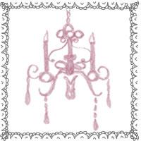 フリー素材:アイコン(twitter,mixi,ブログ);大人可愛いグレーのレースとくすんだピンクのシャンデリア;200×200pix