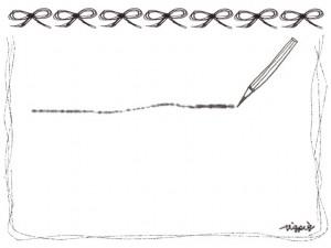 フリー素材:フレーム(バナー広告,メニュー);モノトーンの鉛筆とラインとリボンいっぱいの飾り枠;640×480pix