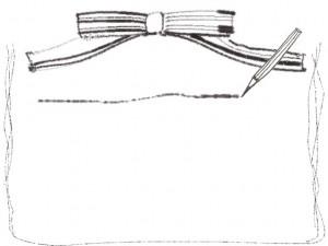フリー素材:フレーム(バナー広告,メニュー);モノクロの鉛筆とラインとストライプのりぼんの飾り枠;640×480pix