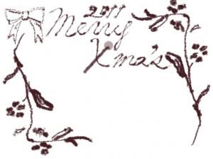 フリー素材:フレーム;北欧風のシンプルな木の枝と茶色のりぼんと2011merryX'masの手書き文字;640×480pix