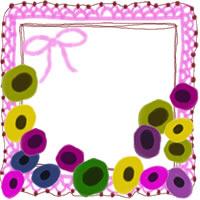 フリー素材:アイコン(twitter,mixi,ブログ);北欧風の花とピンクのリボンとレースの囲み枠;200×200pix
