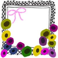 フリー素材:アイコン(twitter,mixi,ブログ);北欧風の花とピンクのリボンと黒のレースの囲み枠;200×200pix