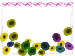 フリー素材:フレーム;北欧風のシンプルな花とガーリーなピンクのリボンとラインの飾り枠;640×480pix