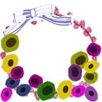 フリー素材:アイコン(twitter,mixi,ブログ);北欧風のシンプルな花とブルーのリボンと赤のレースの飾り枠;200×200pix