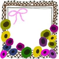 フリー素材:アイコン(twitter,mixi,ブログ);北欧風のシンプルな花とピンクのリボンと茶色のガーリーなレースの飾り枠;200×200pix