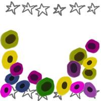 フリー素材:アイコン(twitter,mixi,ブログ);北欧風のシンプルな花と手描きの星いっぱいの飾り枠;200×200pix