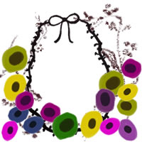 フリー素材:アイコン(twitter,mixi,ブログ);北欧風のカラフルな花と木の枝とりぼんの飾り枠;200×200pix