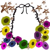フリー素材:アイコン(twitter,mixi,ブログ);北欧風のカラフルな花とモノクロのりぼんの飾り枠と水彩の茶色の星;200×200pix