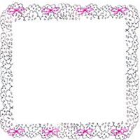 フリー素材:アイコン(twitter,mixi,ブログ);北欧風のシンプルなモノトーン(グレー)のレースと小さなピンクのリボンの飾り枠;200×200pix
