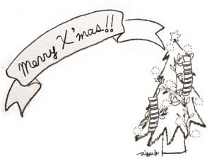 フリー素材:フレーム;モノクロのクリスマスツリーとMerryX'masの手書き文字のリボン;640×480pix