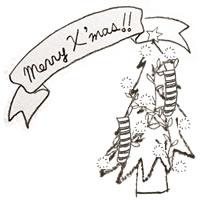 フリー素材:アイコン(twitter,mixi,ブログ);北欧風のモノトーンのクリスマスツリーとMerryX'masの手書き文字;200×200pix