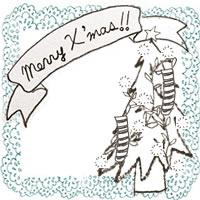 フリー素材:アイコン(twitter,mixi,ブログ);北欧風のクリスマスツリーとMerryX'masの手書き文字と水色のレースの囲み枠;200×200pix