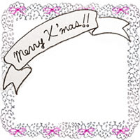 フリー素材:クリスマスのアイコン;ガーリーなMerryX'masの手書き文字と小さなリボンとグレーのレースの囲み枠;200×200pix