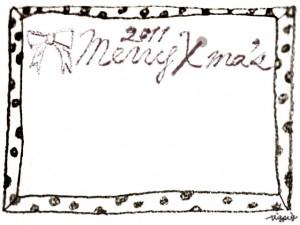 フリー素材:フレーム;モノクロのガーリーな水玉のフレームとりぼんと2011MerryX'masの手書き文字;640×480pix