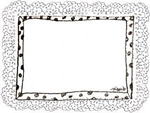 フリー素材:フレーム;モノクロのガーリーな水玉のフレームとレースの飾り枠;640×480pix