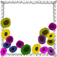 フリー素材:アイコン(twitter,mixi,ブログ);北欧風のシンプルな花(アネモネ)とレースのフレーム;200×200pix
