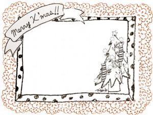 フリー素材:フレーム;モノクロのクリスマスツリーとMerryX'masの手書き文字のリボンと水玉のフレームとオレンジのレース;640×480pix
