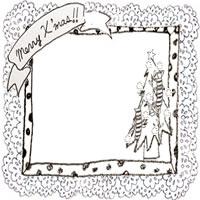 フリー素材:クリスマスのアイコン;モノトーンのクリスマスツリーとMerryX'masの手書き文字のリボンと水玉とレースの枠;200×200pix