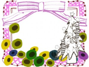 フリー素材:フレーム;北欧風のシンプルな花とクリスマスツリーとガーリーなピンクのリボンとレースの飾り枠;640×480pix