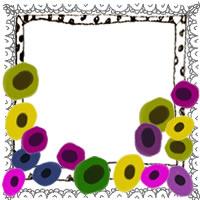 フリー素材:アイコン(twitter,mixi,ブログ);北欧風の花とモノクロの水玉トレースのガーリーなフレーム;200×200pix