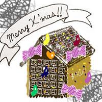 フリー素材:アイコン(twitter,mixi,ブログ);ガーリーなお菓子の家とMerryX'masの手書き文字のリボンとグレーのレース;200×200pix