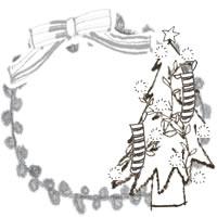 フリー素材:アイコン(twitter,mixi,ブログ);モノクロのシンプルなクリスマスツリーとグレーのリボンとレースの飾り枠;200×200pix