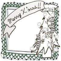 フリー素材:アイコン(twitter,mixi,ブログ);北欧風のモノクロのクリスマスツリーとMerryX'masの手書きのりぼんと深緑のレースの飾り枠;200×200pix