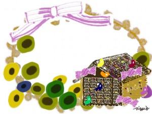 フリー素材:フレーム;北欧風の花とレースとリボンの飾り枠とガーリーなお菓子の家;640×480pix