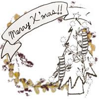 フリー素材:アイコン(twitter,mixi,ブログ);北欧風のモノクロのクリスマスツリーとMerryX'masの手書き文字のりぼんと芥子色のレースの飾り枠;200×200pix