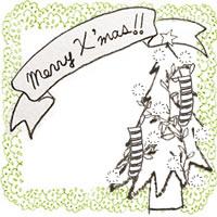 フリー素材:アイコン(twitter,mixi,ブログ);北欧風のモノクロのクリスマスツリーとMerryX'masの手書き文字のりぼんと黄緑のレースの飾り枠;200×200pix