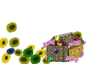 フリー素材:フレーム;北欧風の花とお菓子の家の飾り枠;640×480pix